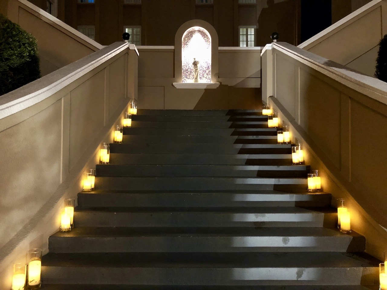 Stairs leading to guest rooms