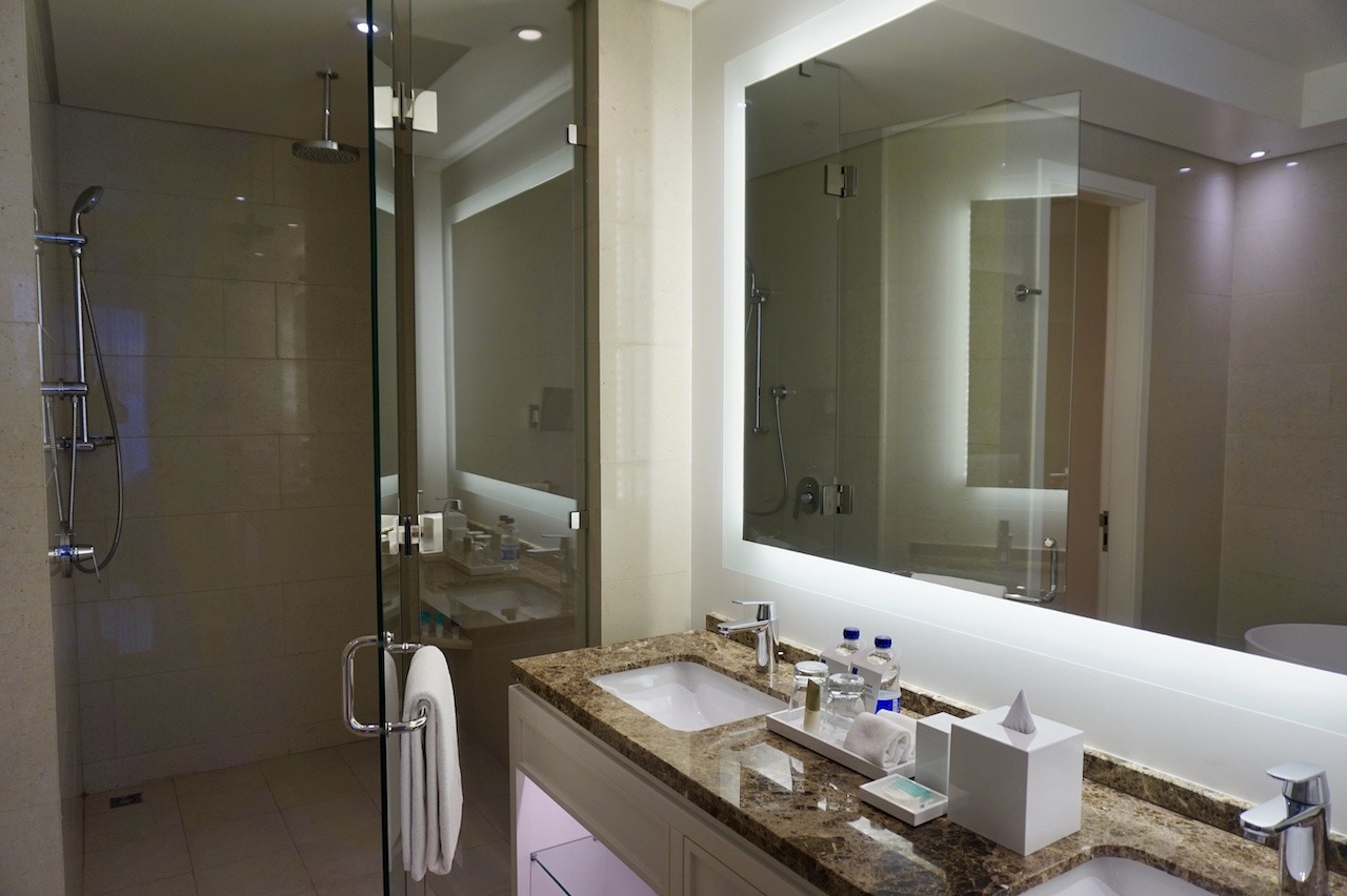 Hyatt Regency Cartagena master bathroom with shower and vanity