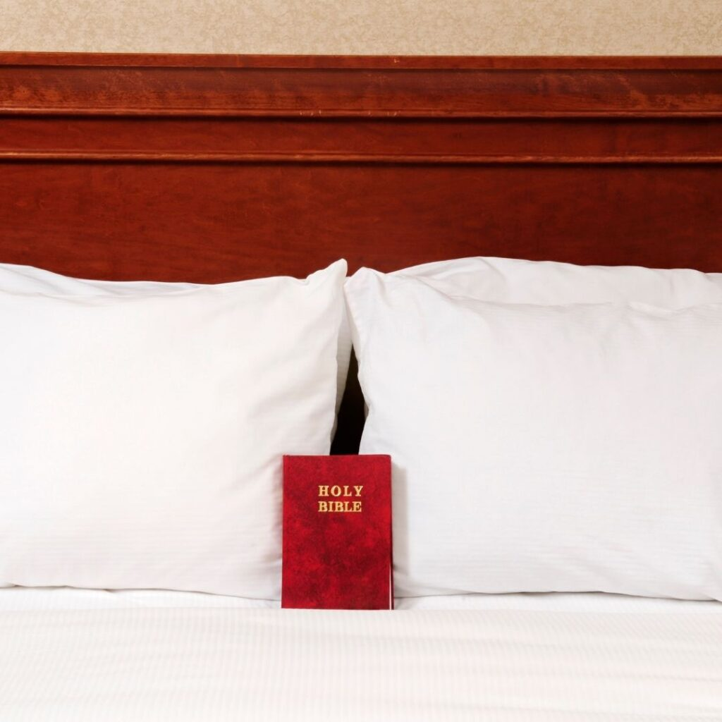 Bible is hotel room bed